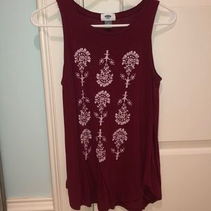 Maroon with flowers tank top